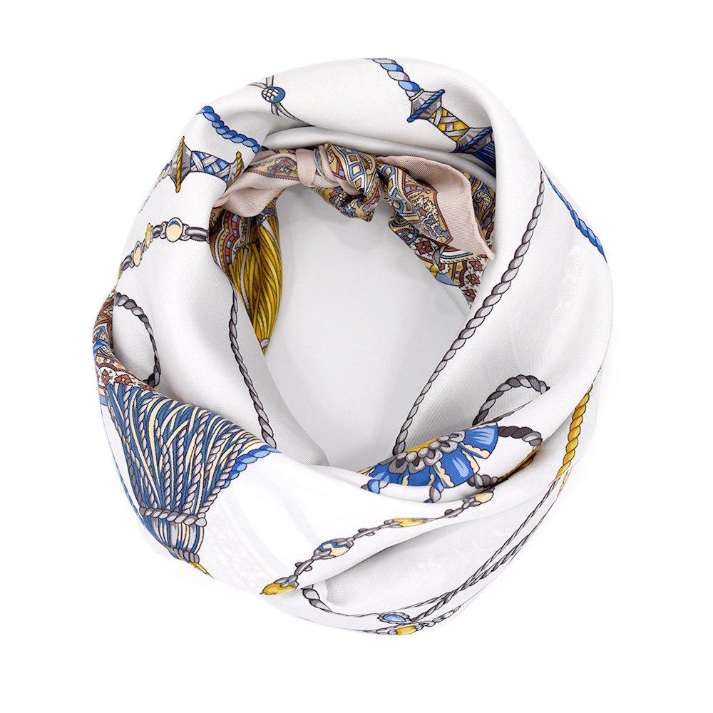 タッセル&ペイズリー(CES-121) 伝統横濱スカーフ 大判 シルクツイル スカーフ