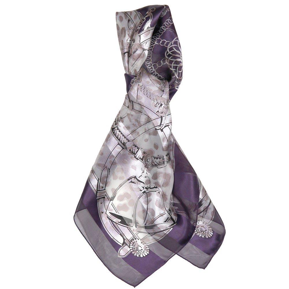 ハーネス&ヒョウ (CEQ-101) Marcaオリジナル シルクサテンストライプ 大判スカーフの画像1