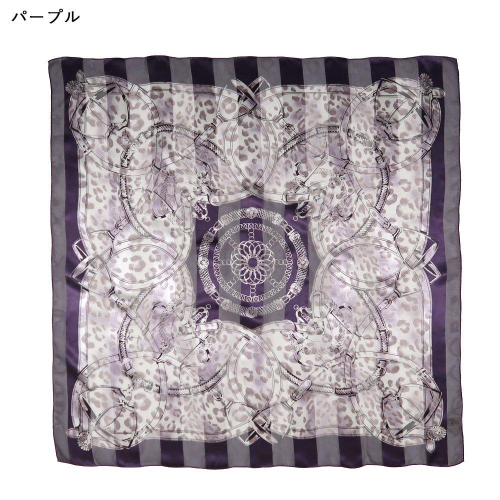 ハーネス&ヒョウ (CEQ-101) Marcaオリジナル シルクサテンストライプ 大判スカーフの画像3