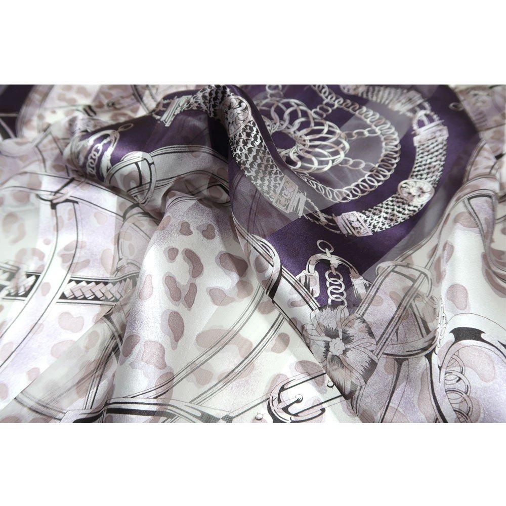 ハーネス&ヒョウ (CEQ-101) Marcaオリジナル シルクサテンストライプ 大判スカーフの画像4