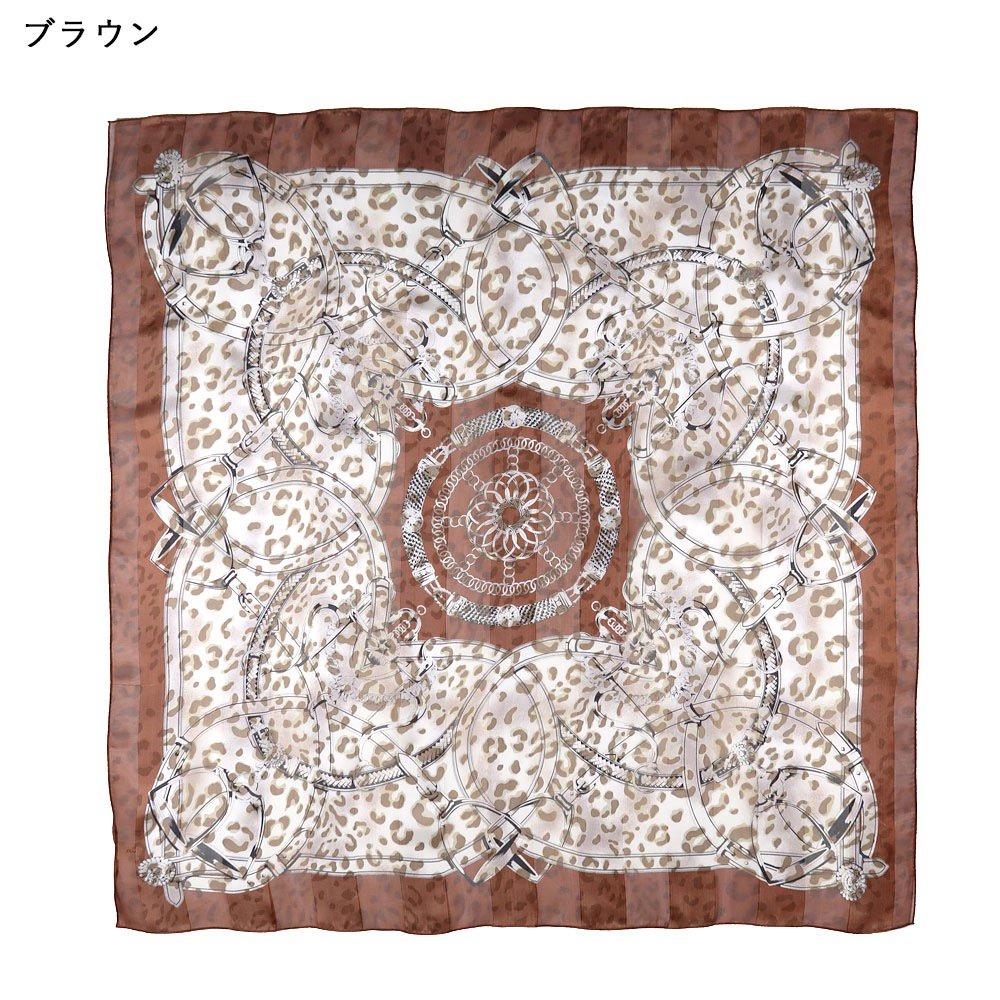 ハーネス&ヒョウ (CEQ-101) Marcaオリジナル シルクサテンストライプ 大判スカーフの画像7