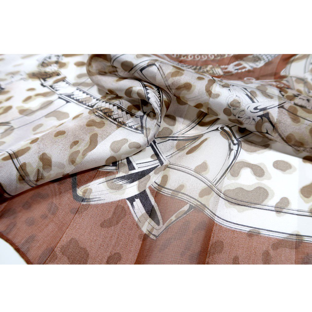 ハーネス&ヒョウ (CEQ-101) Marcaオリジナル シルクサテンストライプ 大判スカーフの画像8