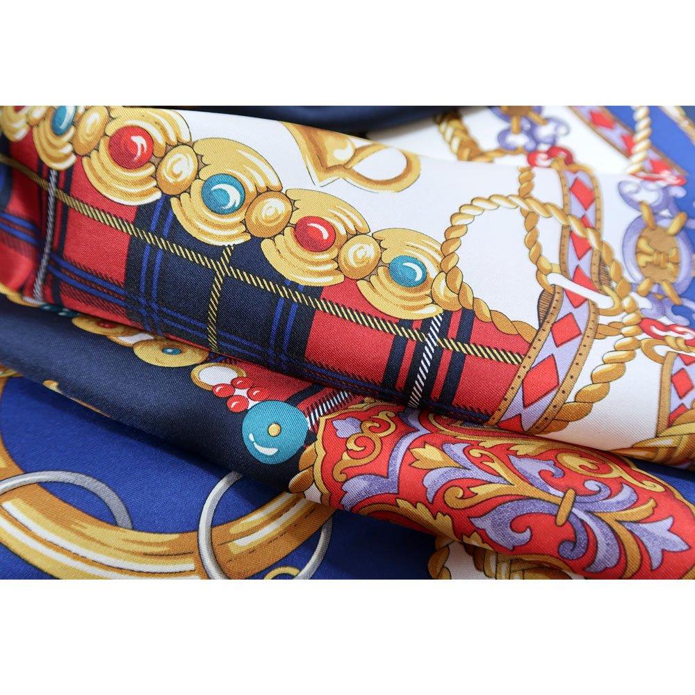 飾りカギとチェック (CM5-441) Marcaオリジナル 大判 シルクツイル スカーフの画像3