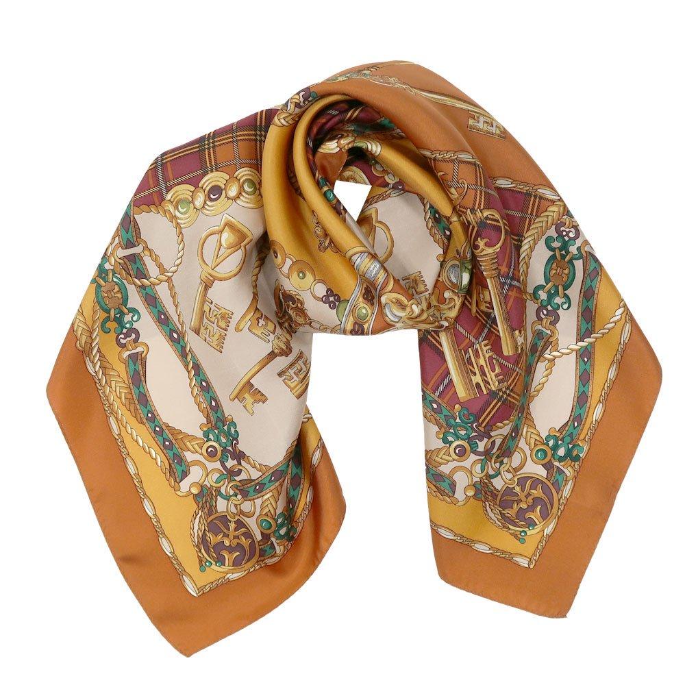 飾りカギとチェック (CM5-441) Marcaオリジナル 大判 シルクツイル スカーフ