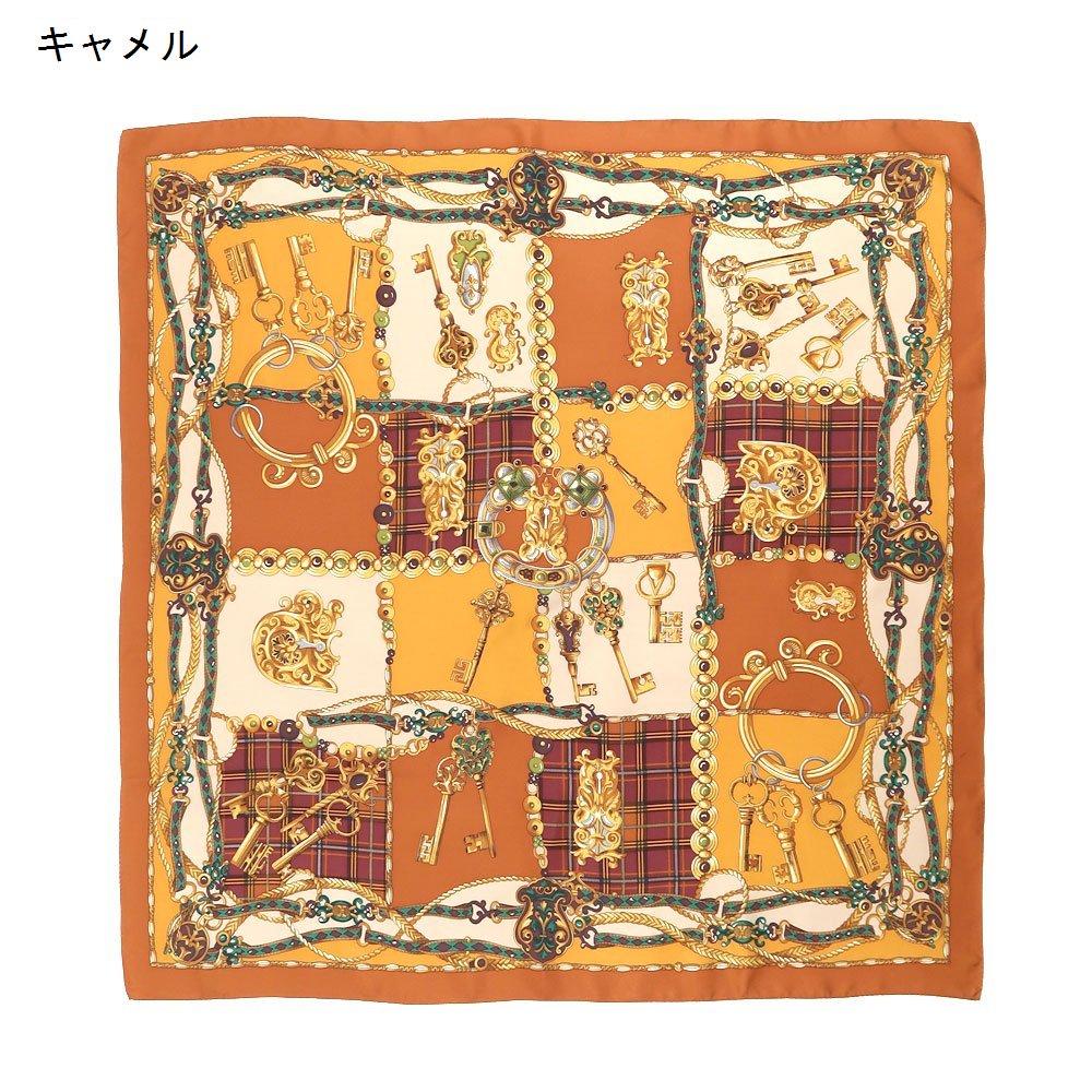 飾りカギとチェック (CM5-441) Marcaオリジナル 大判 シルクツイル スカーフの画像6