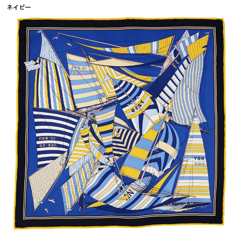 セーリング (CET-063) Marcaオリジナル 大判 シルクツイル スカーフの画像2