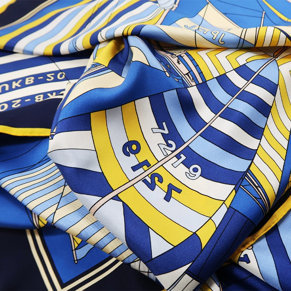 セーリング (CET-063) Marcaオリジナル 大判 シルクツイル スカーフの画像4