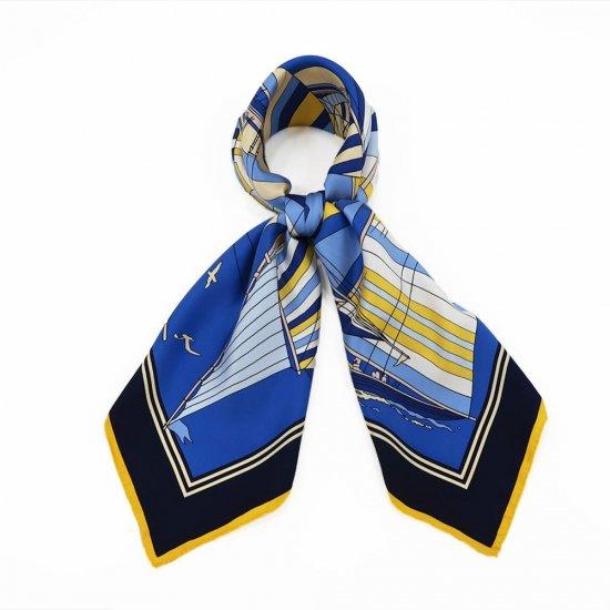 セーリング (CET-063) Marcaオリジナル 大判 シルクツイル スカーフ