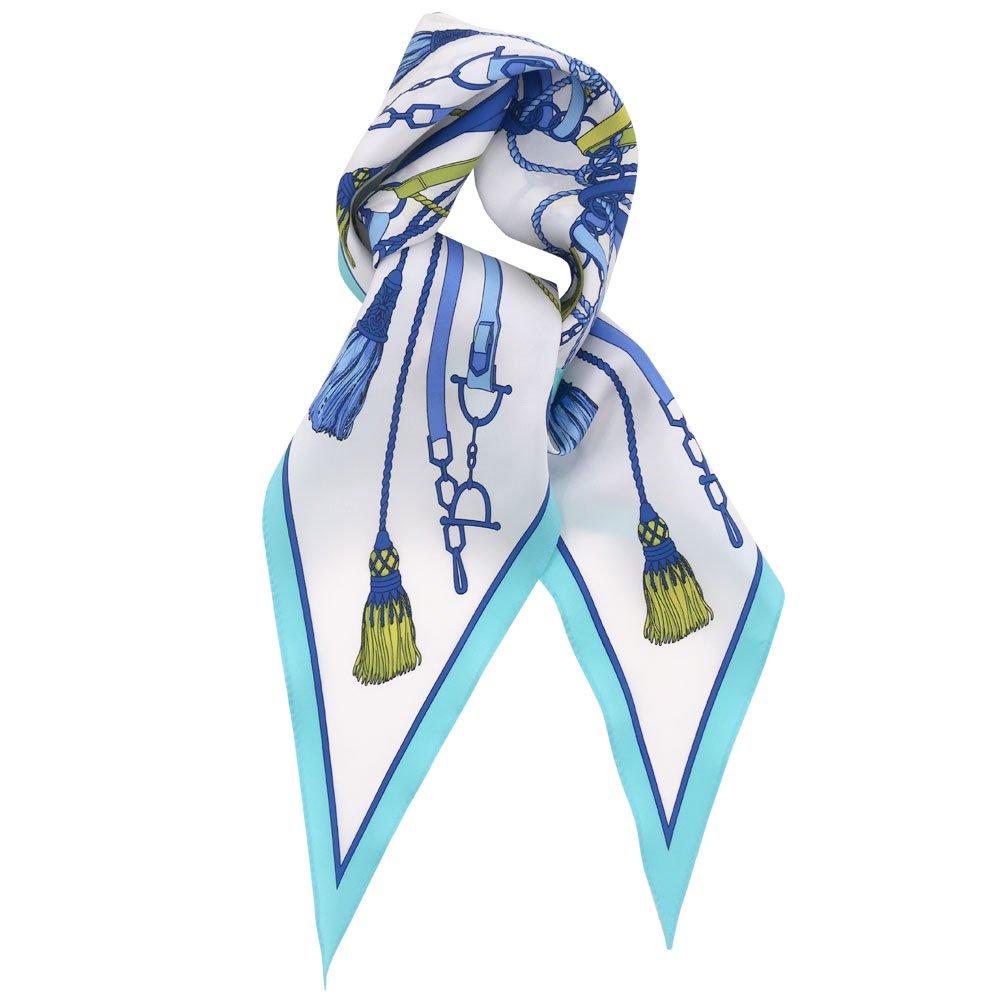 タッセル&チャーム 菱形スカーフ (FET-061) Marcaオリジナル シルクツイル スカーフの画像1