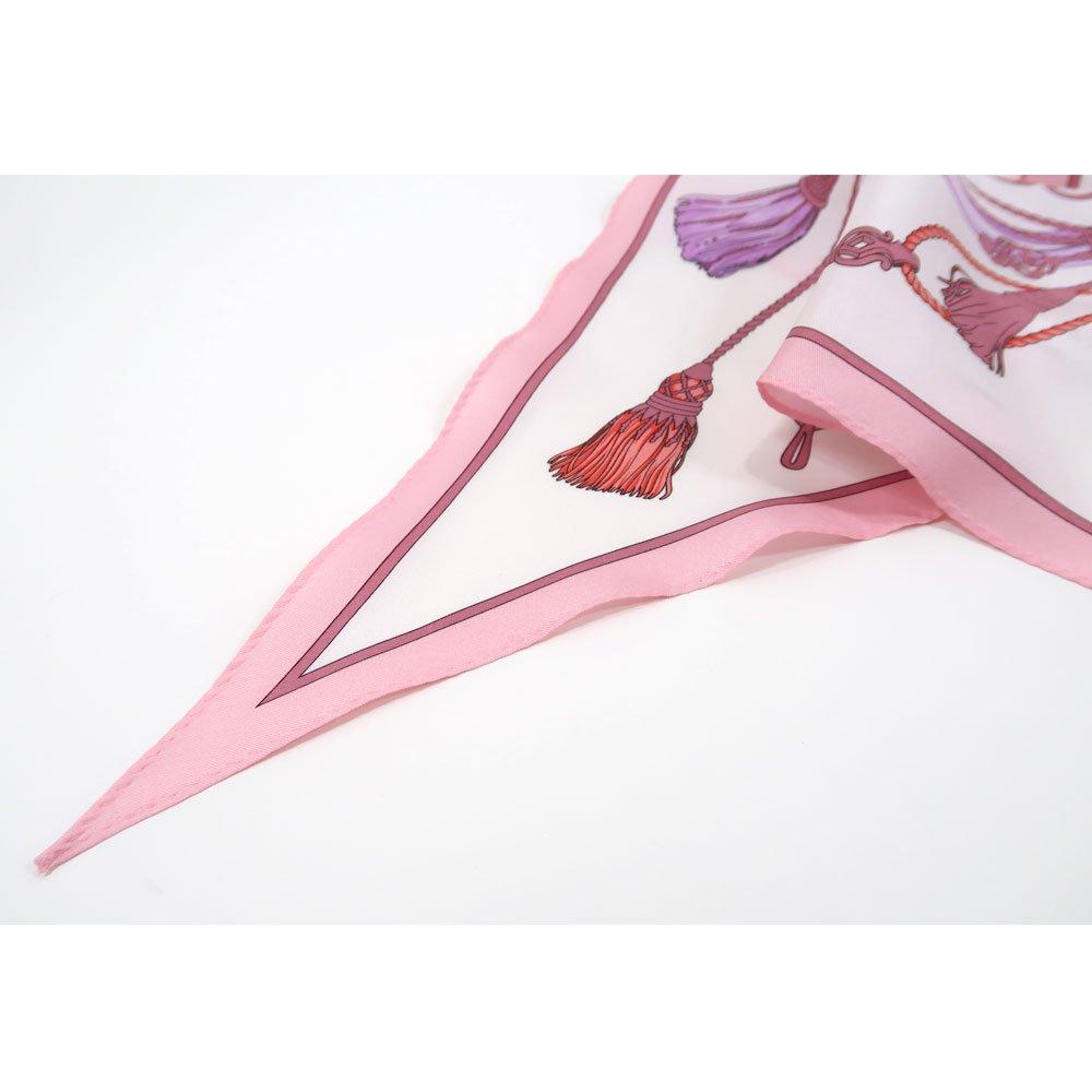 タッセル&チャーム 菱形スカーフ (FET-061) Marcaオリジナル シルクツイル スカーフの画像8