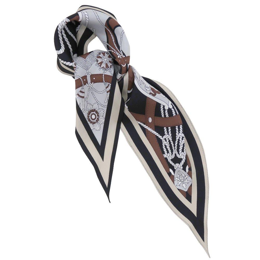 バイカラーベルト 菱形スカーフ (FET-069) Marcaオリジナル シルクツイル スカーフの画像1