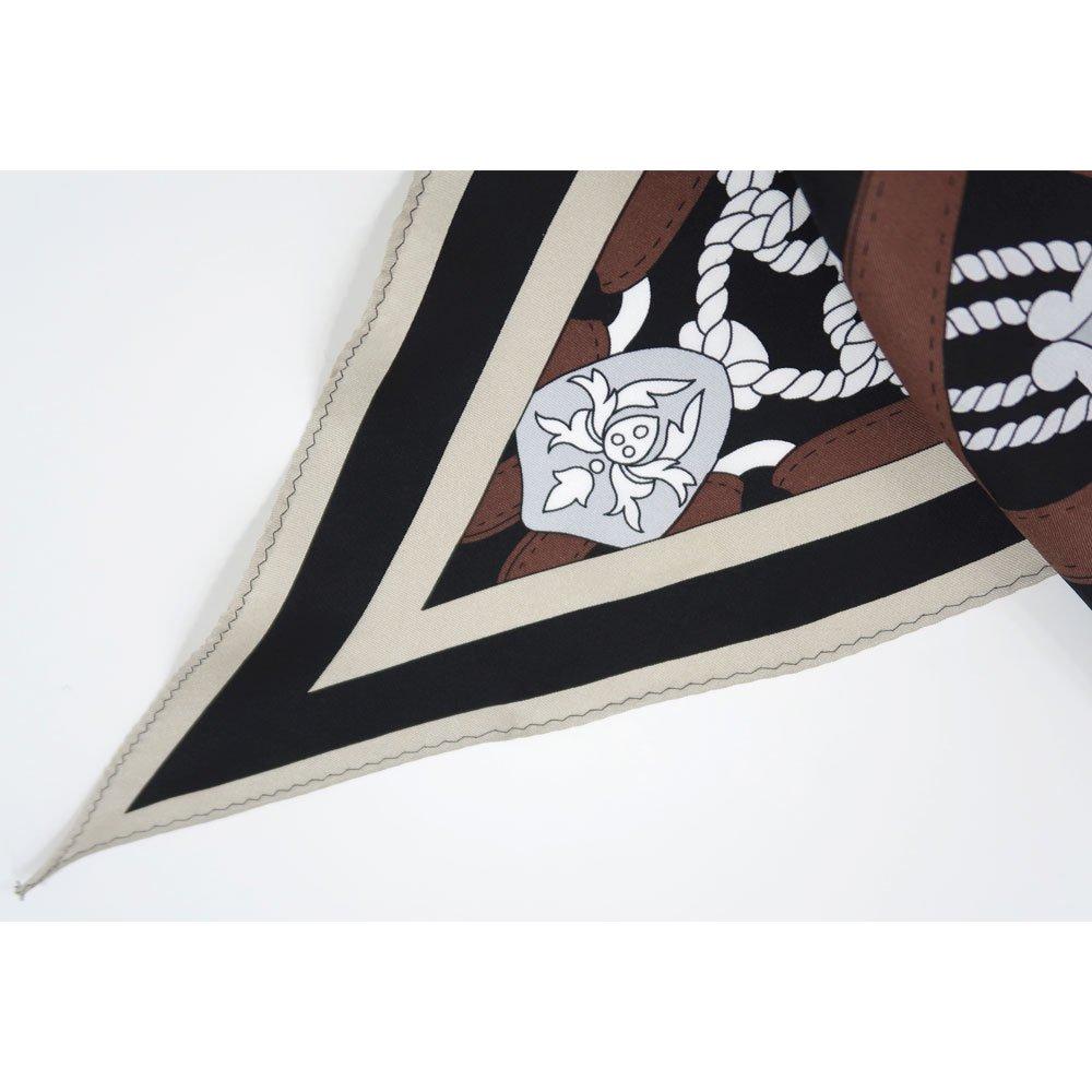 バイカラーベルト 菱形スカーフ (FET-069) Marcaオリジナル シルクツイル スカーフの画像4