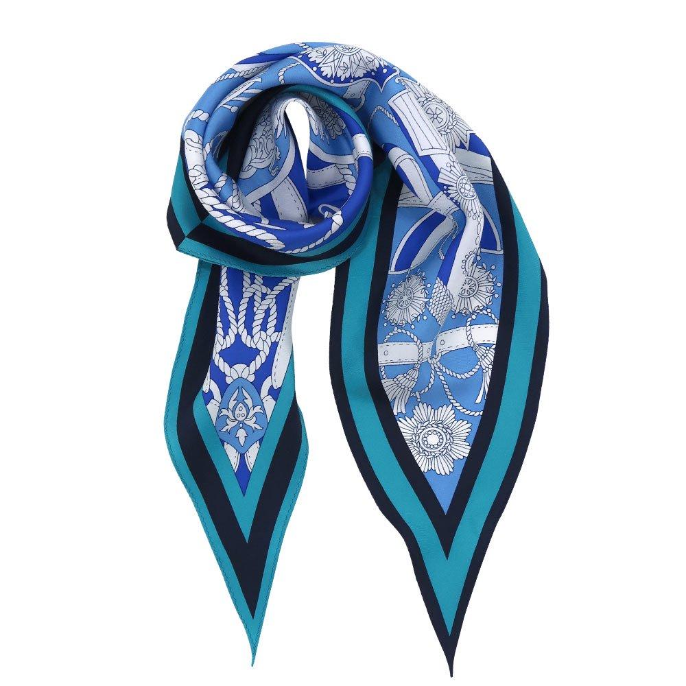 バイカラーベルト 菱形スカーフ (FET-069) Marcaオリジナル シルクツイル スカーフの画像5