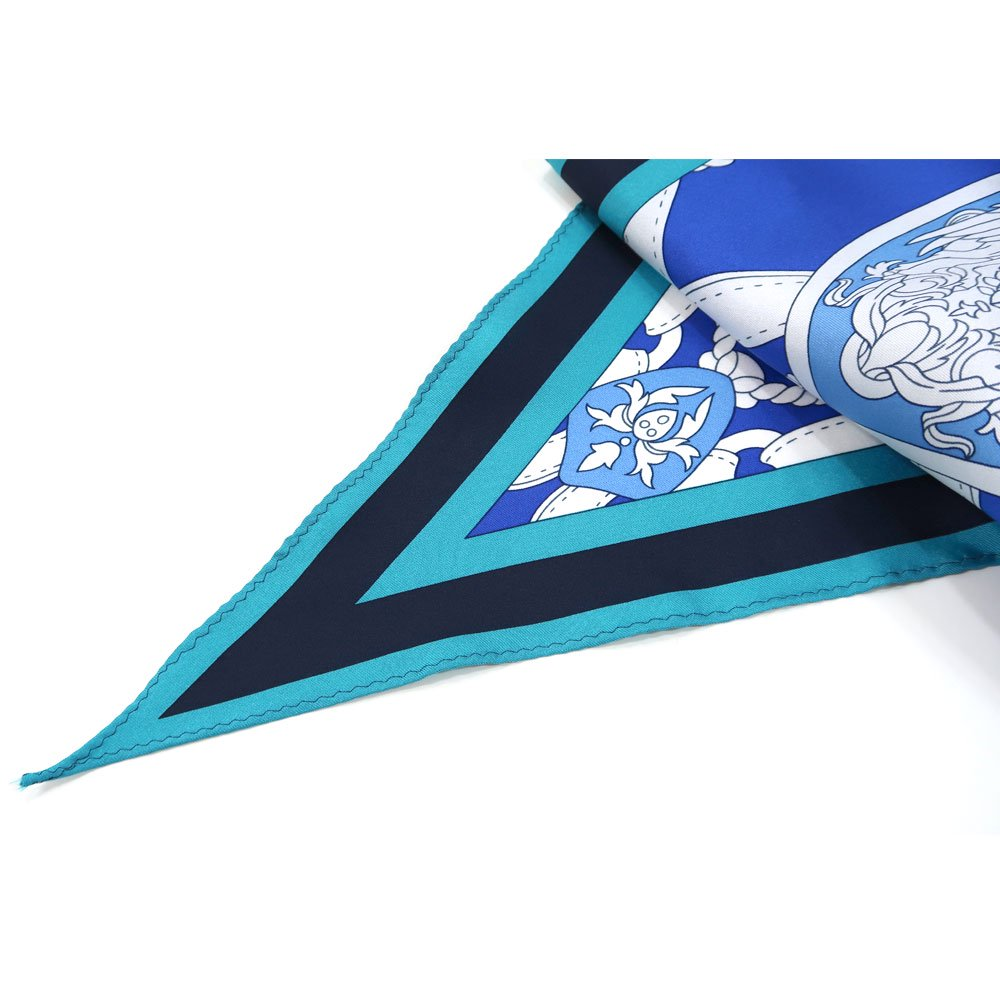 バイカラーベルト 菱形スカーフ (FET-069) Marcaオリジナル シルクツイル スカーフの画像7