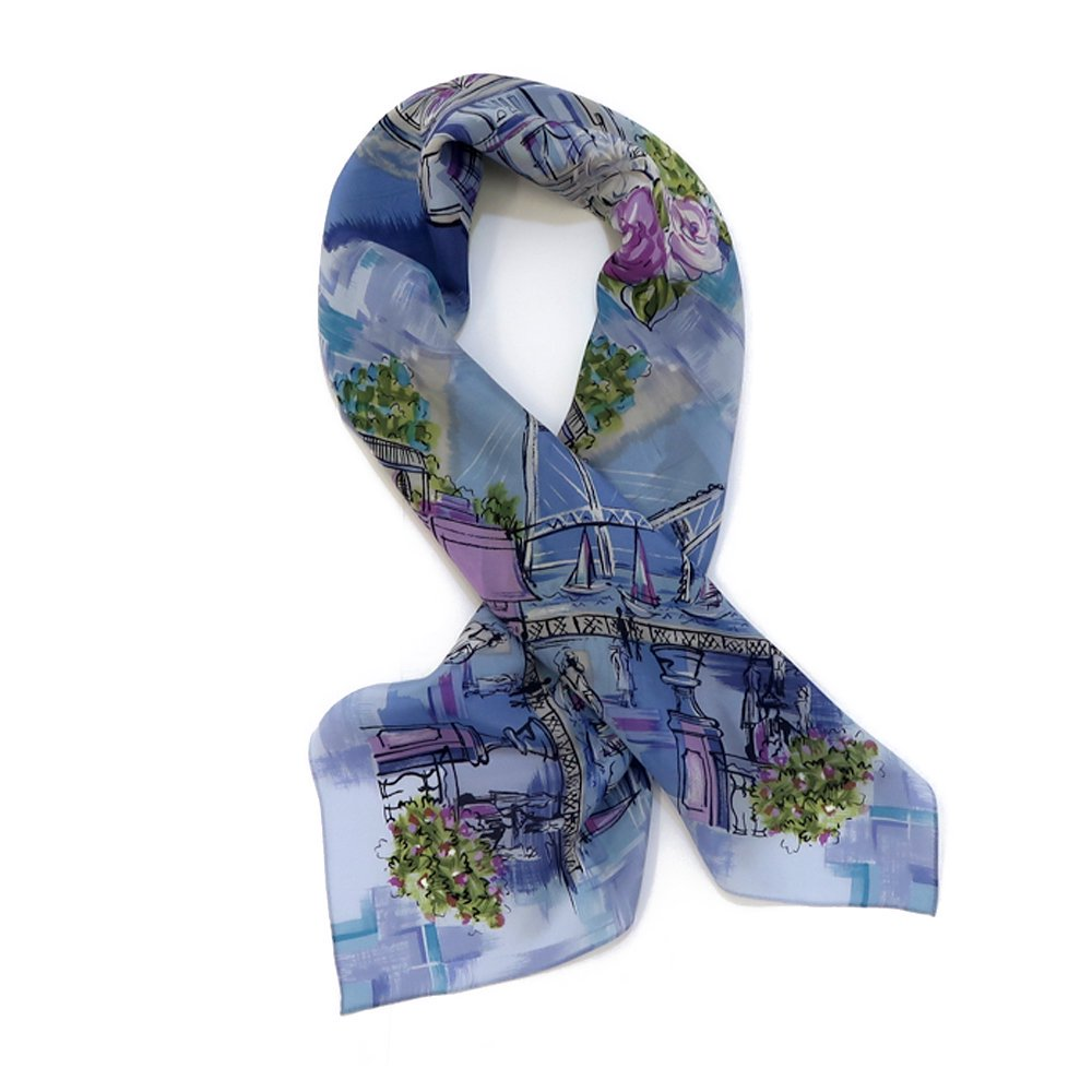 リゾートランド (CMD-364) 伝統横濱スカーフ 大判 シルクデシン スカーフの画像2