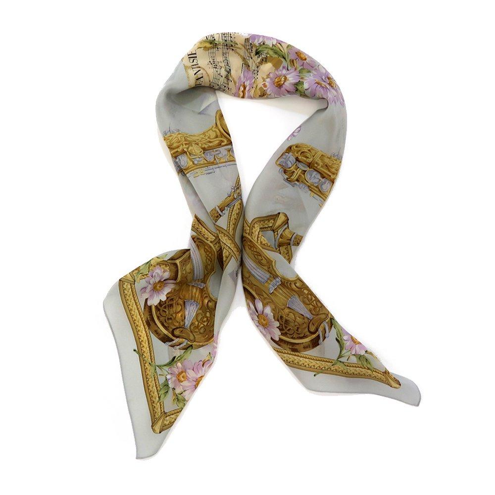 花と楽器 (CM8-033) 伝統横濱スカーフ 大判 シルクデシン スカーフ