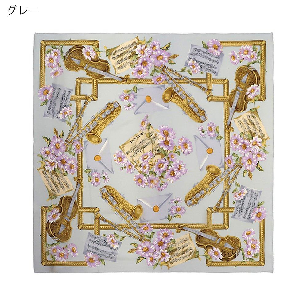 花と楽器 (CM8-033) 伝統横濱スカーフ 大判 シルクデシン スカーフの画像2