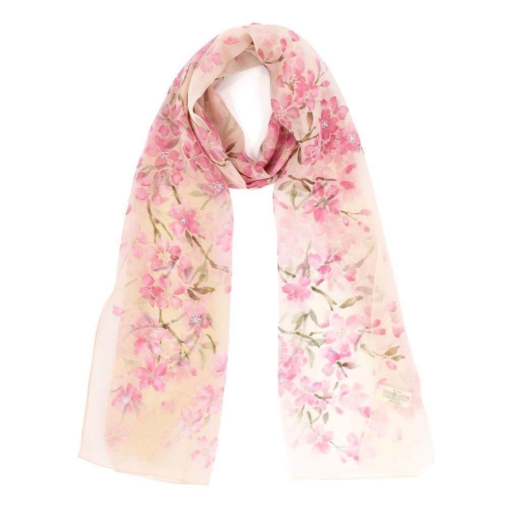 桜 (LMH-088) 伝統横濱スカーフ  シルクローン ロングスカーフの画像1