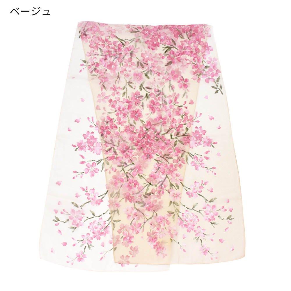 桜 (LMH-088) 伝統横濱スカーフ  シルクローン ロングスカーフの画像2