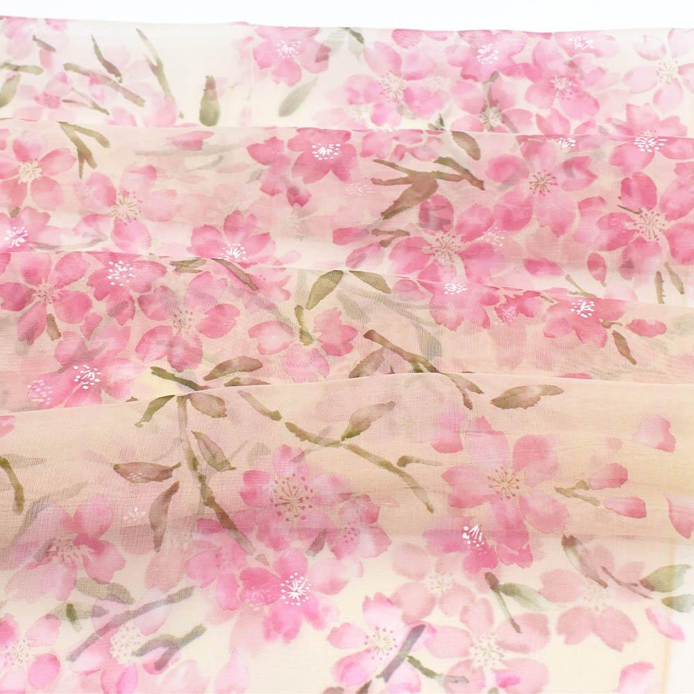 桜 (LMH-088) 伝統横濱スカーフ  シルクローン ロングスカーフの画像3