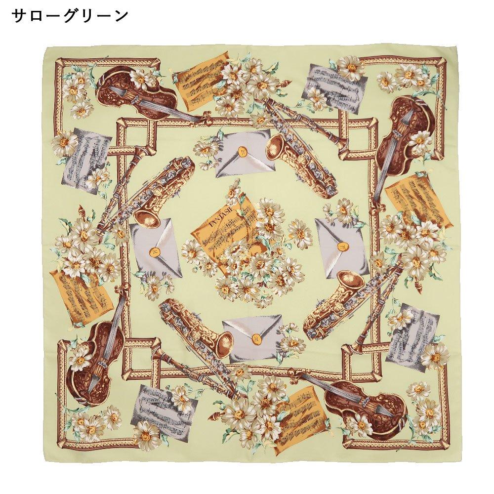 花と楽器 (CM8-033K) 伝統横濱スカーフ 大判 シルクツイル スカーフ