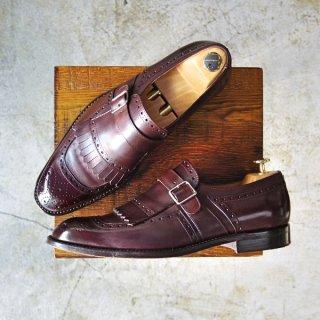 極美品★(英)Herring Shoes/ヘリング SIZE 7.5【モンクストラップ/キルト付き】キルトモンク★c032-8