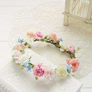 (プリザ)ブーケデコの花冠 S パステルカラー系