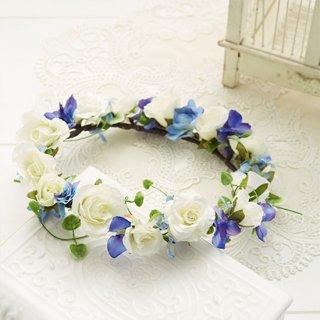 (プリザ)ブーケデコの花冠 S 白、ブルー系