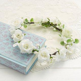(プリザ)ブーケデコの花冠 S 白系