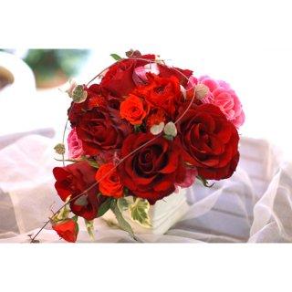 (プリザ)赤バラとピンクバラキャスケード