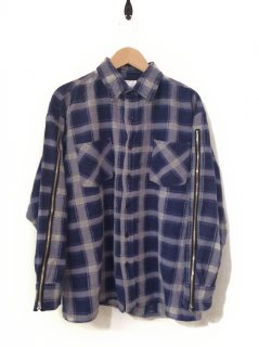OLDPARK ZIP SLEEVE SHIRT FLANNEL(NAVY×NATURAL)