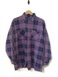 OLDPARK ZIP SLEEVE SHIRT FLANNEL(PURPLE×LILAC)