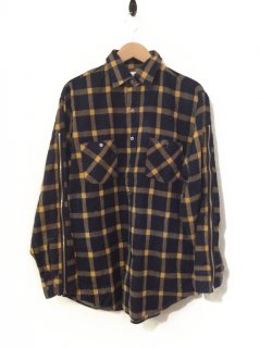 OLDPARK ZIP SLEEVE SHIRT FLANNEL(NAVY×YELLOW)