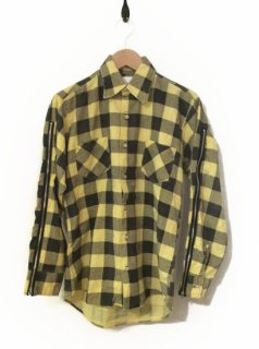 OLDPARK ZIP SLEEVE SHIRT FLANNEL(YELLOW×CHARCOAL)