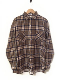 OLDPARK ZIP SLEEVE SHIRT FLANNEL(BEIGE×NAVY)