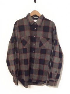 OLDPARK ZIP SLEEVE SHIRT FLANNEL(GRAY×NAVY)