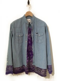 OLDPARK PULLOVER TAIL SHIRT CHAMBRAY WESTERN(PURPLE)
