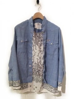 OLDPARK PULLOVER TAIL SHIRT CHAMBRAY WESTERN(WHITE)