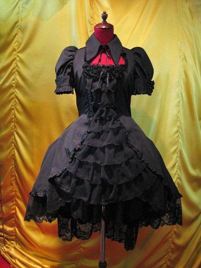 ◆受注商品◆別衿・姫袖付きドレスワンピース:黒