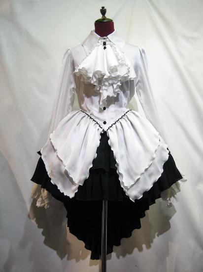 ゴシック調ドレープフリルタイ付きワンピース型ブラウス+前短・後長V字フリル重ねロングスカート:白×黒