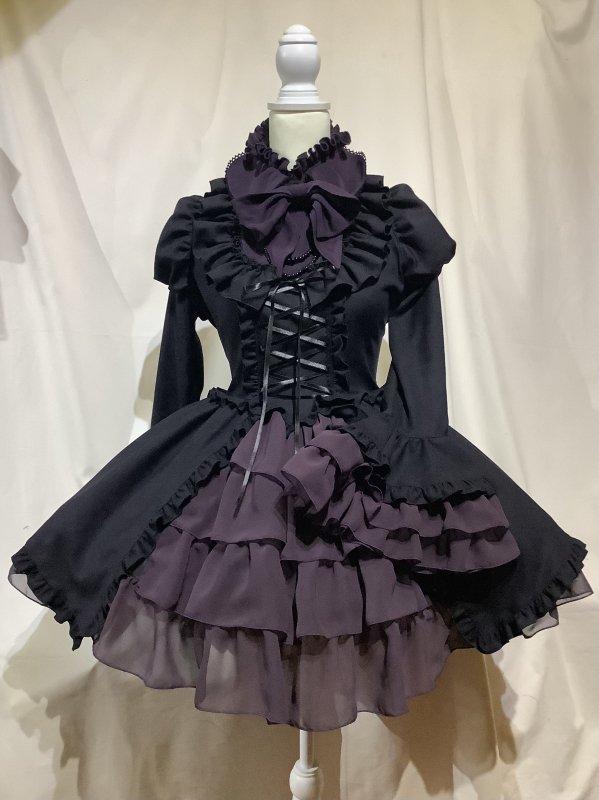 アリス風編み上げドレスワンピース:紫ゴシック柄