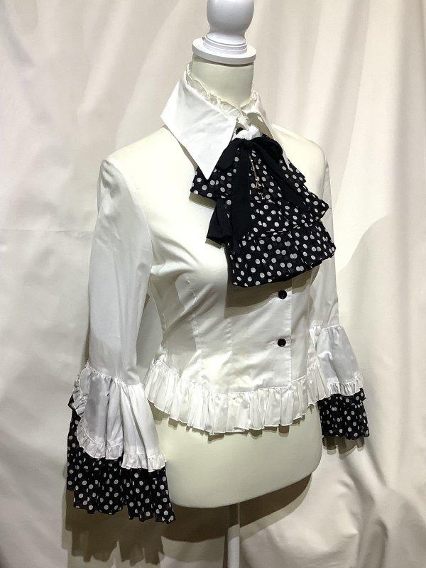 リバーシブルタイ付き姫袖ブラウス:白黒ドット