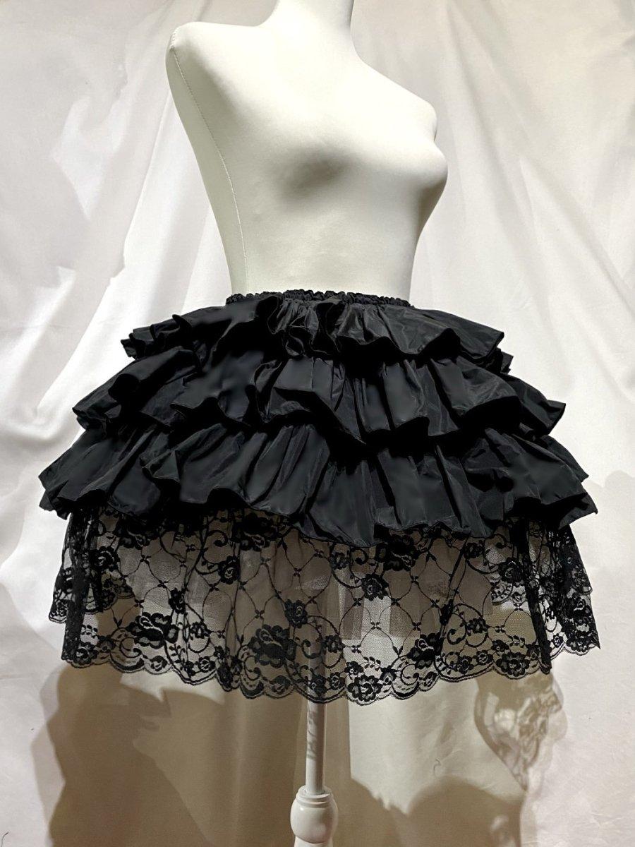 ボリュームフリル 裾レーススカート:黒