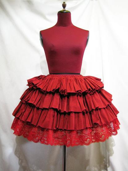 ボリュームフリル 裾レーススカート:赤