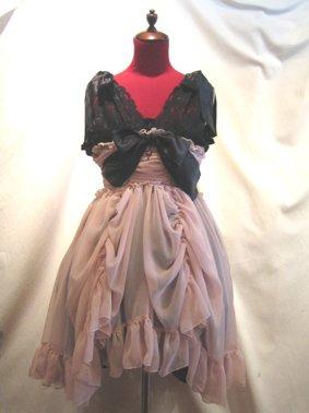 バラアクセサリー付きギャザーリボンドレス+パニエ:ピンク黒ワンピース×黒パ二エ