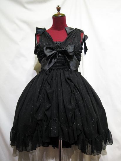バラアクセサリー付きギャザーリボンドレス+パニエ:黒ラメ入りドットワンピース×黒パ二エ