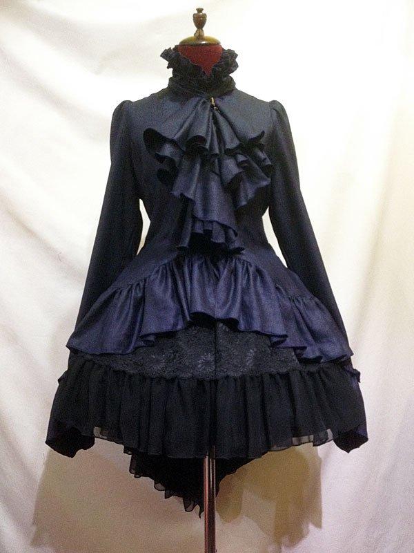 黒しずく付きボリュームタイブラウス+パ二エ入り後長ボリュームスカート:紺ブラウス×黒スカート
