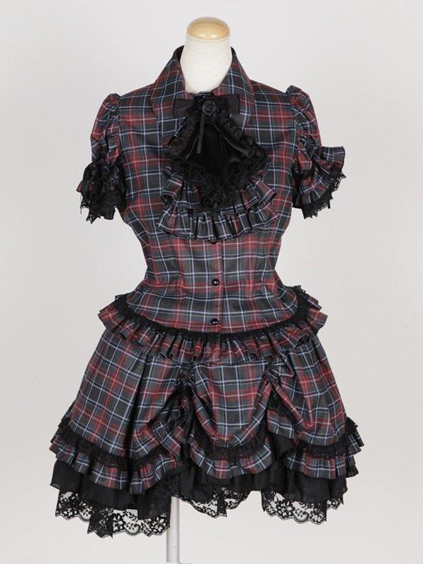 ネクタイ型フリルタイ付きパフスリーブブラウス+前ギャザースカラップスカート:黒えんじチェック