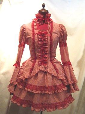 チョーカー付き風パフスリーブブラウス+パ二エ入りレース飾りティアードスカート:赤白ギンガムチェック