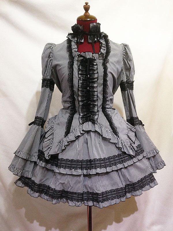 チョーカー付き風パフスリーブブラウス+パ二エ入りレース飾りティアードスカート:黒白ギンガムチェック
